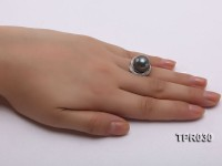 14mm Black Tahitian Pearl Silver Ring