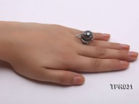 13.5mm Black Tahitian Pearl Silver Ring