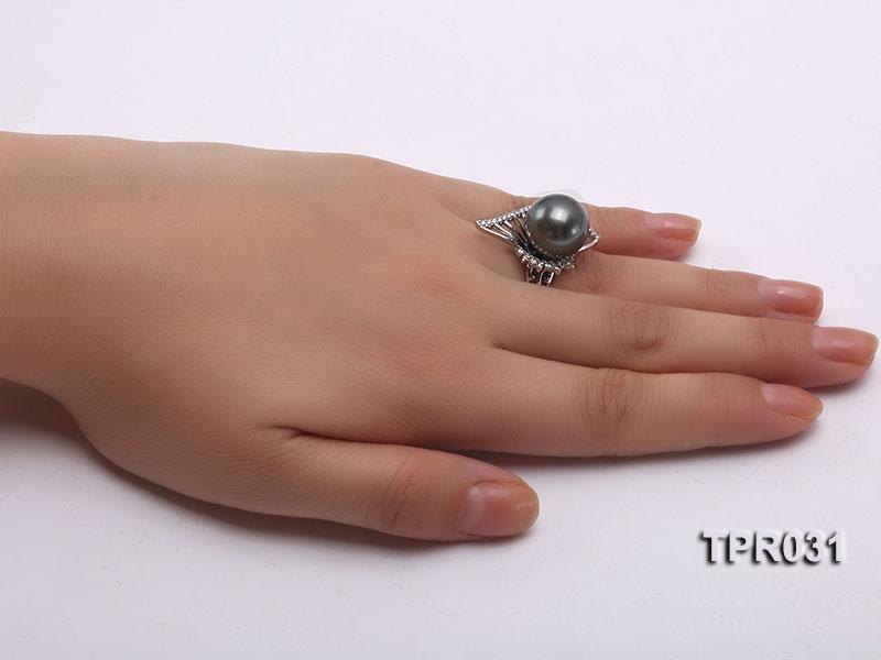 13.5mm Black Tahitian Pearl Silver Ring