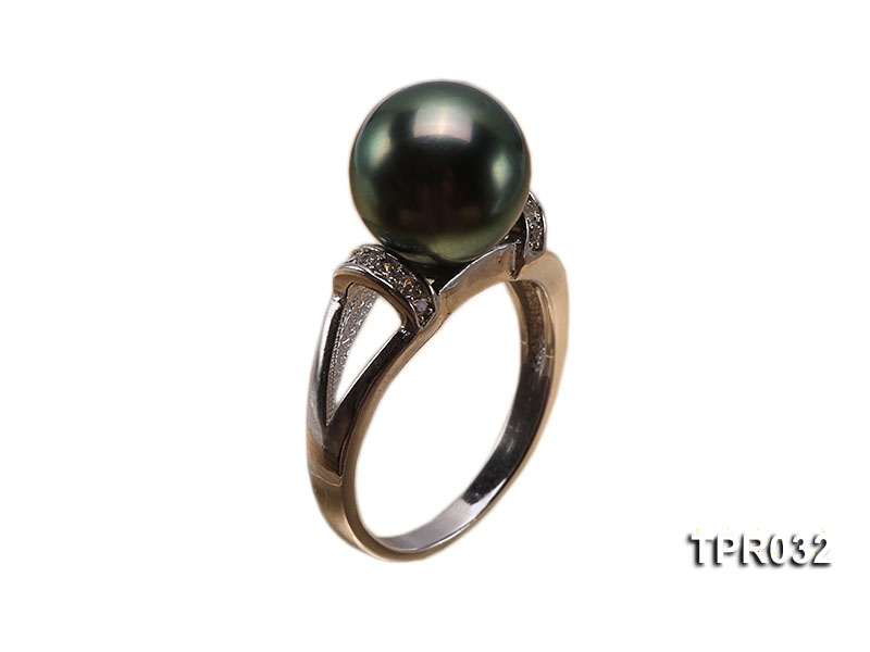 14mm Peacock Tahitian Pearl Silver Ring