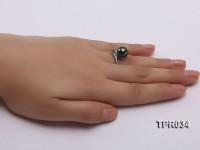 13.5mm Peacock Tahitian Pearl Silver Ring