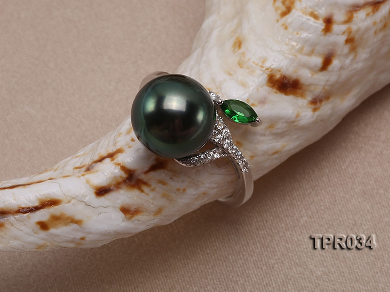13.5mm Peacock Tahitian Pearl Silver Ring