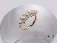 4.5mm Round White Akoya Pearl Ring in 14K Gold