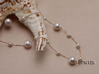 8.5mm White Round Akoya Pearl Chain Necklace in 18K Gold