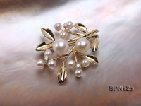 8.5mm Round White Akoya Pearl Brooch Set on Sterling 18K Gold  Bail with Diamond