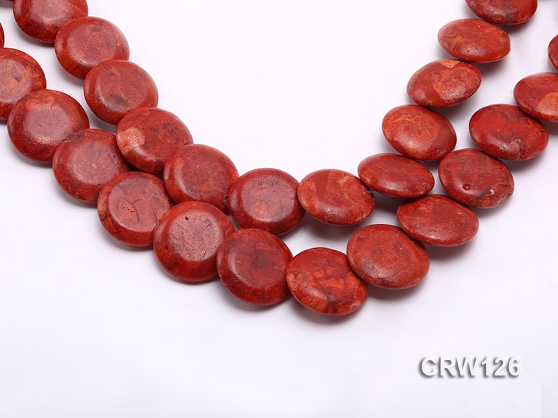 Wholesale 25mm Button-shaped Red Sponge Coral Beads Loose String