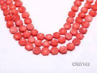 Wholesale 14mm Hexagon Pink Coral Pieces Loose String