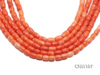 Wholesale 7x10mm Pillar-shaped Orange Coral Beads Loose String