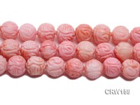 Wholesale 20mm Round Pink Carved Coral Beads Loose String