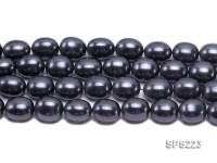 Wholesale 15x18mm Black Oval Seashell Pearl String