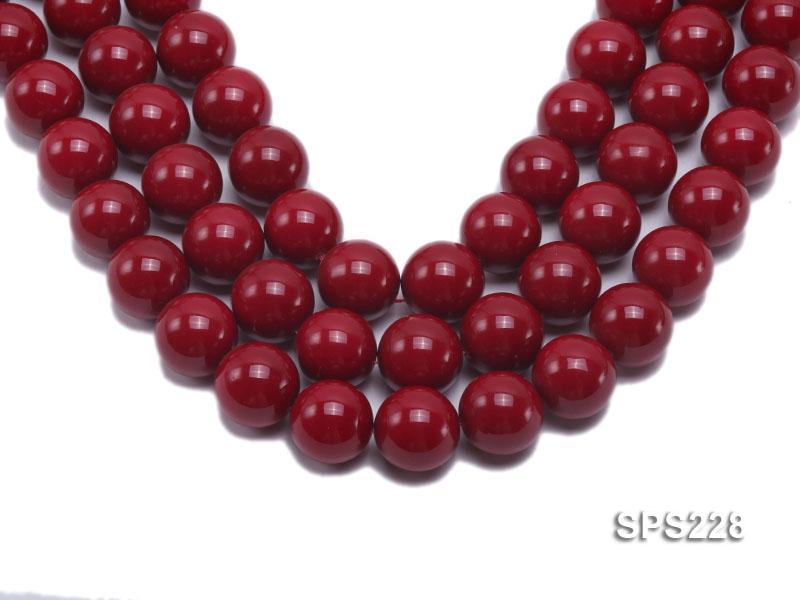Wholesale 20mm Red Round Seashell Pearl String