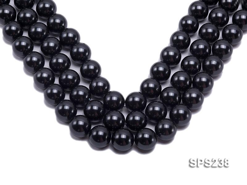 Wholesale 18mm Black Round Seashell Pearl String