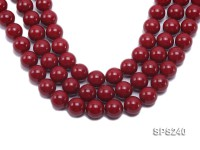 Wholesale 18mm Red Round Seashell Pearl String