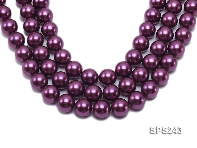 Wholesale 18mm Burgundy Round Seashell Pearl String