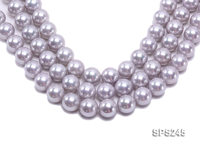 Wholesale 18mm Lavender Grey Round Seashell Pearl String