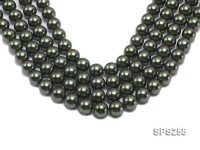 Wholesale 14mm Round Deep Green Seashell Pearl String