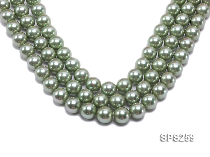 Wholesale 14mm Round Green Seashell Pearl String