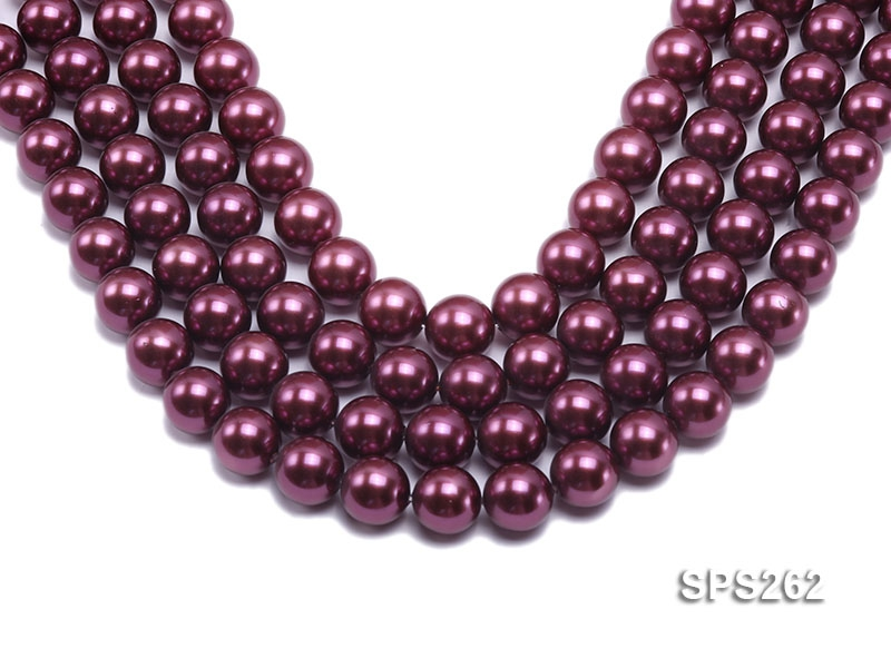 Wholesale 14mm Round Burgundy Seashell Pearl String