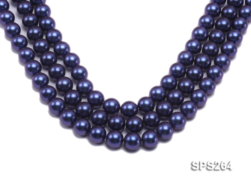 Wholesale 14mm Round Deep Blue Seashell Pearl String