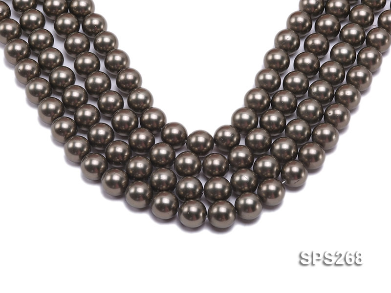 Wholesale 14mm Round Black Seashell Pearl String