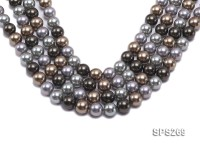 Wholesale 14mm Round Multi-color Seashell Pearl String
