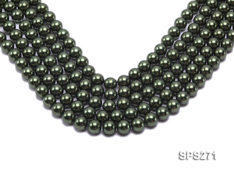 Wholesale 12mm Round Green Seashell Pearl String