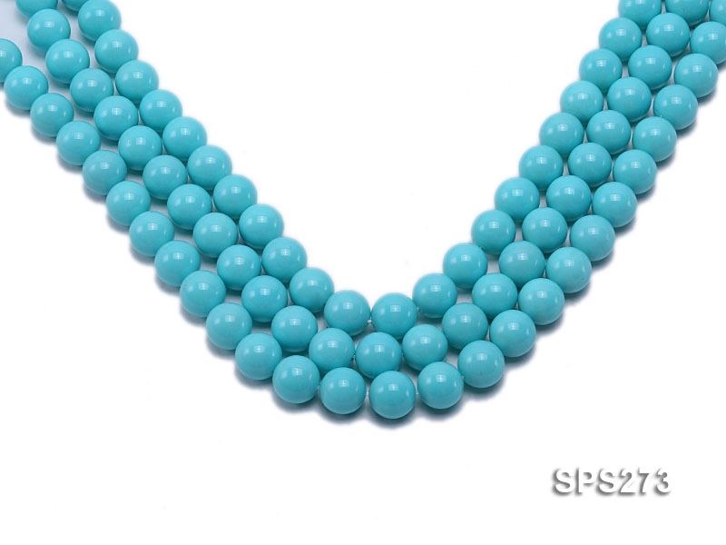 Wholesale 12mm Round Sky-blue Seashell Pearl String