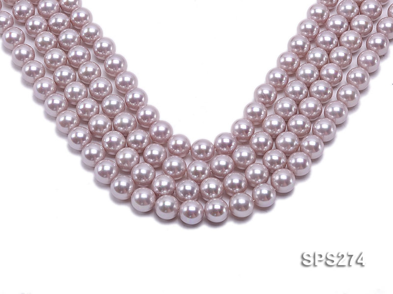 Wholesale 12mm Round Lavender Seashell Pearl String