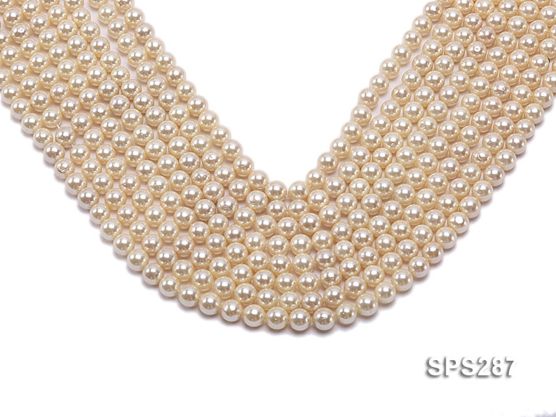 Wholesale 8mm Round Golden Seashell Pearl String
