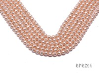 Wholesale 8mm Round Pink Seashell Pearl String