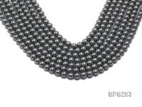 Wholesale 8mm Round Black Seashell Pearl String
