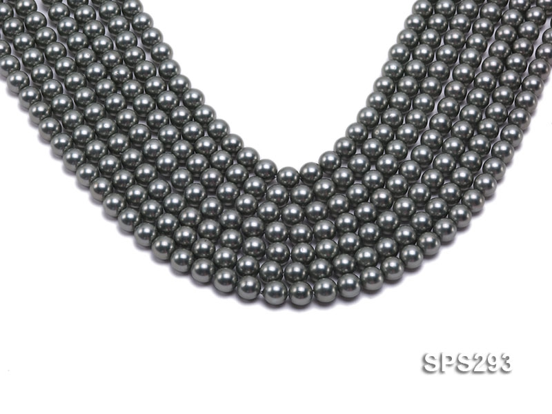 Wholesale 8mm Round Black Seashell Pearl String