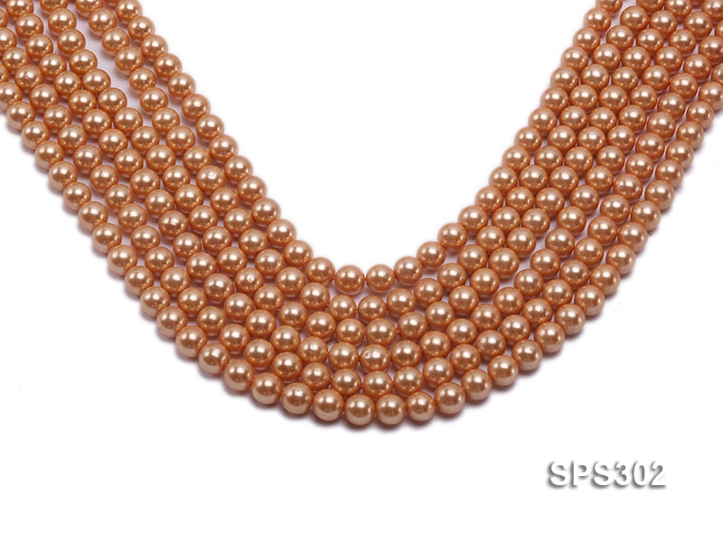 Wholesale 8mm Round Orange Seashell Pearl String