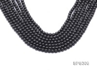 Wholesale 6mm Round Black Seashell Pearl String
