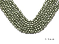 Wholesale 7mm Round Green Seashell Pearl String