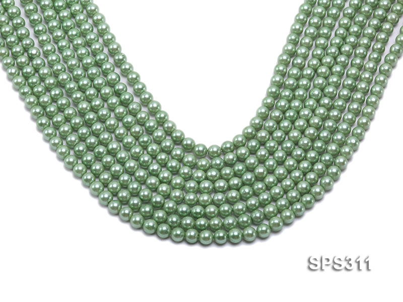 Wholesale 6mm Round Green Seashell Pearl String