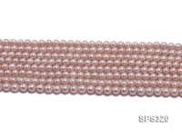 Wholesale 6mm Round Pink Seashell Pearl String