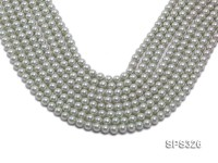 Wholesale 6mm Round Silver Grey Seashell Pearl String