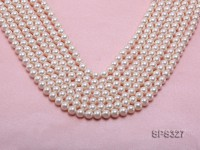 Wholesale 7.5mm Round White Seashell Pearl String