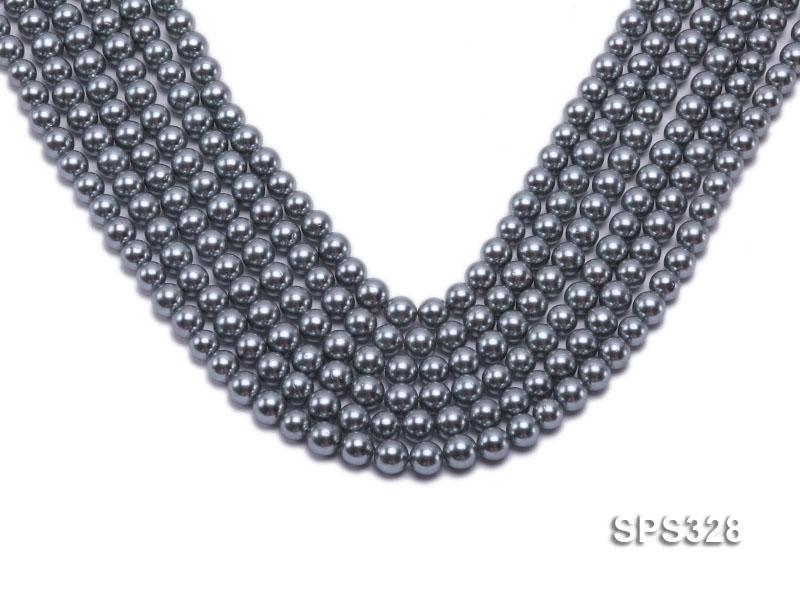Wholesale 7mm Round Black Seashell Pearl String