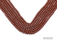 Wholesale 6mm Round Coffee Brown Seashell Pearl String