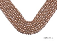 Wholesale 6mm Round Champagne Seashell Pearl String