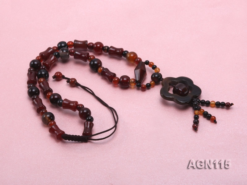 8mm black and red multi-shape agate necklace with black agate pendant