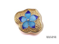16x19mm Flower-shaped Silver Accessory with Cloisonne Decoration