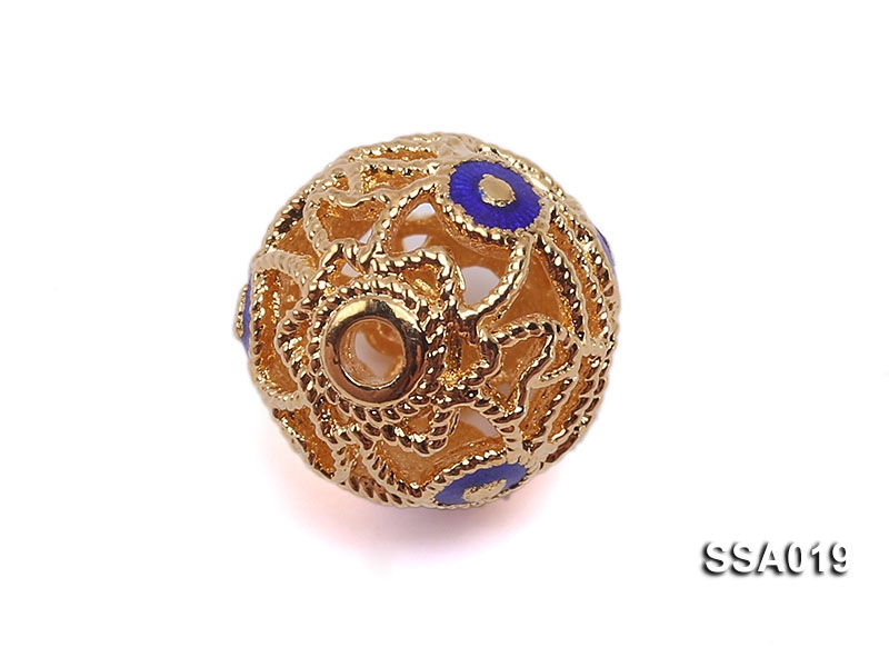 11mm Ball-shaped Silver Accessory with Cloisonne Decoration