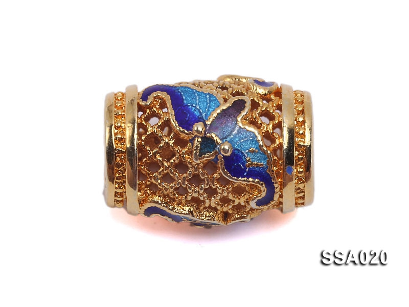 6.5x12mm Drum-shaped Silver Accessory with Cloisonne Decoration