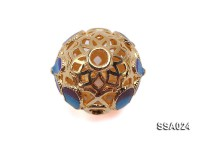 14.5mm Ball-shaped Silver Accessory with Cloisonne Decoration