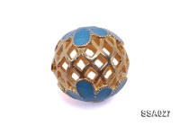 14mm Ball-shaped Silver Accessory with Cloisonne Decoration