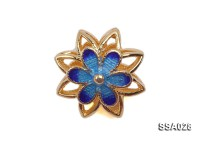 13.5mm Flower-shaped Silver Accessory with Cloisonne Decoration