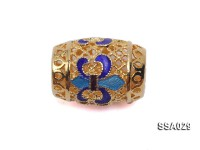 12x16mm Drum-shaped Silver Accessory with Cloisonne Decoration